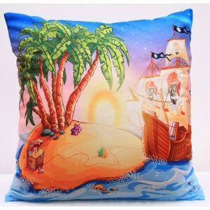 Barevný povlak na polštáře s dětským motivem pirátské lodi na ostrově s pokladem
