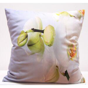 Bílé povlaky na polštář s motivem bílé orchideje
