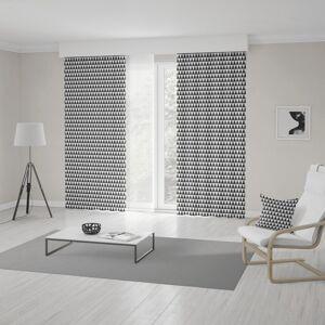 Bílo černé závěsy do obýváku šité na míru s pepitovým vzorem
