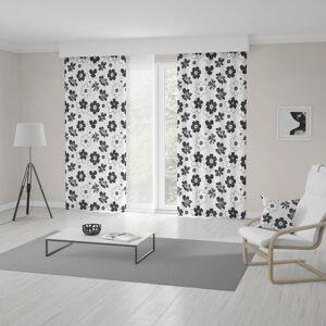 Bílo černý závěs šitý na míru s květinovým vzorem