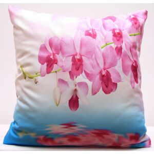 Bílo modrý povlak na polštáře s rozkvetlou růžovou orchidejí