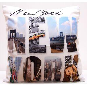 Bílý povlak na polštáře s motivem New York