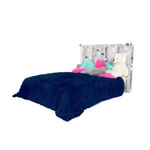 Chlupaté plyšové deky tmavě modré barvy 200 x 220 cm