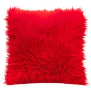Chlupatý povlak na polštář v červené barvě