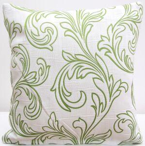 Dekorační povlaky na polštáře bílé barvy se zelenými ornamenty
