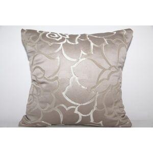 Elegantní povlaky na polštáře kakaové barvy s ornamenty ve tvaru květů