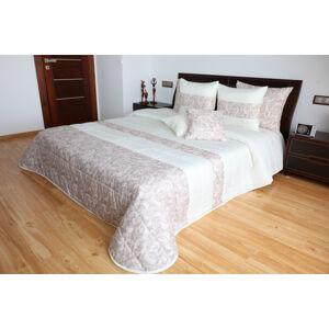 Kvalitní béžový přehoz na postel s jemným vzorem