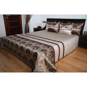 Luxusní přehozy na postel ve světle hnědé barvě s proužky a vzorem