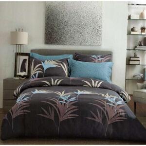 Oboustranná hnedéposteľné povlečení s motivem palmových listů