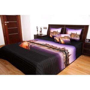 Přehoz na postel černo fialový velkoměsto