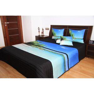 Přehoz na postel černo modrý pláž