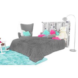 Příjemná chlupatá deka v šedé barvě 200 x 220 cm