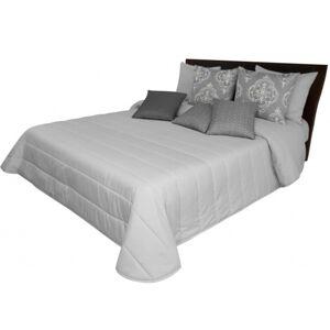 Světle šedý přehoz na postel do ložnice